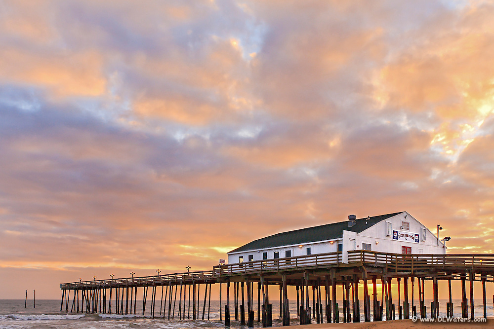 Kitty Hawk Fishing Pier at sunrise.
