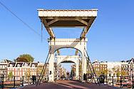 """De Magere Brug"" or the Skinny Bridge in Amsterdam, the Netherlands."