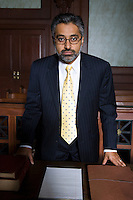 Man wearing suit in court, portrait