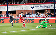 Aberdeen&rsquo;s Joe Lewis saves Dundee&rsquo;s Nick Ross' effort - Dundee v Aberdeen in the Ladbrokes Scottish Premiership at Dens Park, Dundee. Photo: David Young<br /> <br />  - &copy; David Young - www.davidyoungphoto.co.uk - email: davidyoungphoto@gmail.com