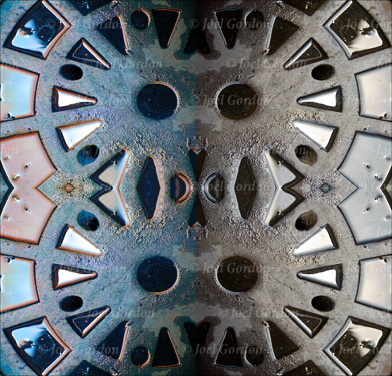 Close up of New York City street manhole cover after rain, mirror image made then rotated to combine. Duplicate inmage made then rotated and combine again.