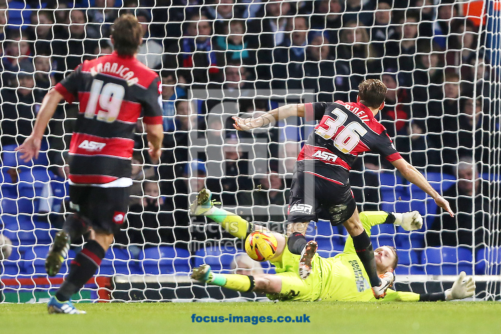 Picture by Richard Calver/Focus Images Ltd +447792 981244<br /> 11/01/2014<br /> Gary O'Neil of Queens Park Rangers pounces to score, making it 2-0 during the Sky Bet Championship match against Ipswich Town at Portman Road, Ipswich.