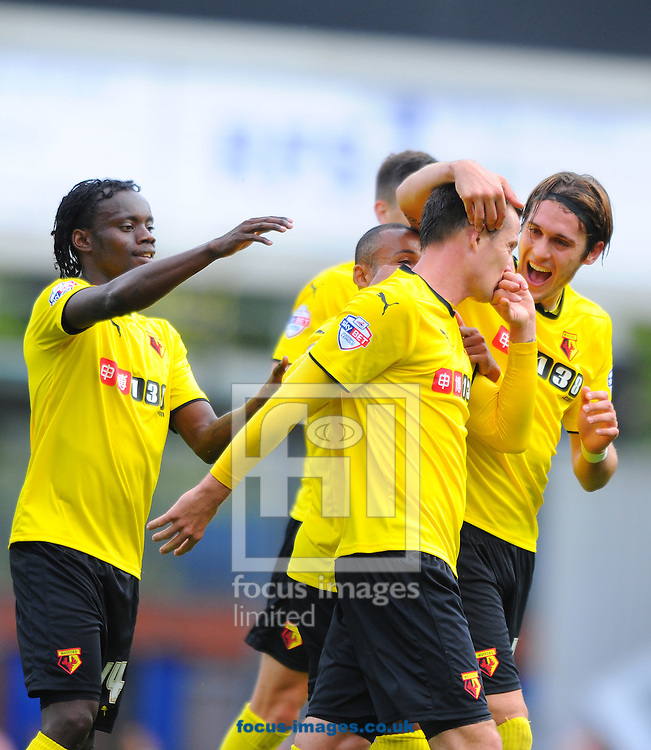 Daniel Tozser of Watford (second right) is congratulated by team-mates after scoring his team's second goal during the Sky Bet Championship match at Ewood Park, Blackburn<br /> Picture by Greg Kwasnik/Focus Images Ltd +44 7902 021456<br /> 27/09/2014