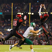 22 September 2018: San Diego State Aztecs cornerback Darren Hall (23) intercepts a pass intended for Eastern Michigan Eagles wide receiver Black Banham (2) in overtime. The San Diego State Aztecs beat the Eastern Michigan Eagles 23-20 in over time at SDCCU Stadium in San Diego, California.