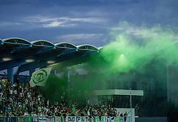 Green Dragons, fans, of Olimpija during football match between ND Gorica and NK Olimpija Ljubljana in Round #10 of Prva liga Telekom Slovenije 2015/16, on September 19, 2015, in Sports park Gorica, Nova Gorica, Slovenia. Photo by Vid Ponikvar / Sportida