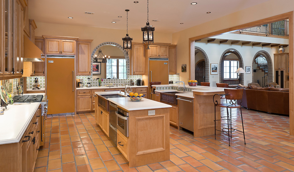 This kitchen was photographed for an article highlighting the particular style of its appliances and custom design elements.