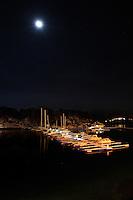 &Aring;lesund 12012011.<br /> M&aring;neskinn over sm&aring;b&aring;thavnen ved Sunnm&oslash;rshallen / Color Line Stadion i &Aring;lesund.<br /> <br /> The marina next to Sunnm&oslash;rshallen / Color Line Stadium in Aalesund photographed in moonlight.<br /> Foto: Svein Ove Ekornesv&aring;g
