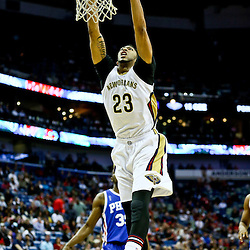 Feb 19, 2016; New Orleans, LA, USA; New Orleans Pelicans forward Anthony Davis (23) dunks against the Philadelphia 76ers during the first quarter of a game at the Smoothie King Center. Mandatory Credit: Derick E. Hingle-USA TODAY Sports