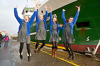 05/12/2013   Leanne Neary Jenna Byrnes, Ann Hume with poet Ciara MacDonald,  from Scoil Mhuire Oranmore Galway who won a tour of the Marine Institute's Flagship research vessel The Celtic Explorer for her classmates with a poem she wrote. Photo:Andrew Downes.