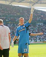 FUSSBALL   1. BUNDESLIGA  SAISON 2011/2012   3. Spieltag     20.08.2011 VfB Stuttgart - Bayer Leverkusen        Jubel nach dem Schlusspfiff, Torwart Bernd Leno (Bayer 04 Leverkusen)