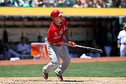 OAKLAND, CA - JUNE 21:  Mike Trout #27 of the Los Angeles Angels of Anaheim at bat against the Oakland Athletics during the third inning at O.co Coliseum on June 21, 2015 in Oakland, California. The Oakland Athletics defeated the Los Angeles Angels of Anaheim 3-2. (Photo by Jason O. Watson/Getty Images) *** Local Caption *** Mike Trout