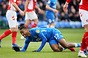 Peterborough Utd forward Ivan Toney (17) see's his shot go just wide during the EFL Sky Bet League 1 match between Peterborough United and Charlton Athletic at London Road, Peterborough, England on 26 January 2019.