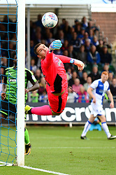 Kyle Letheren of Plymouth Argyle makes a save from Ellis Harrison of Bristol Rovers header - Mandatory by-line: Dougie Allward/JMP - 30/09/2017 - FOOTBALL - Memorial Stadium - Bristol, England - Bristol Rovers v Plymouth Argyle - Sky Bet League One