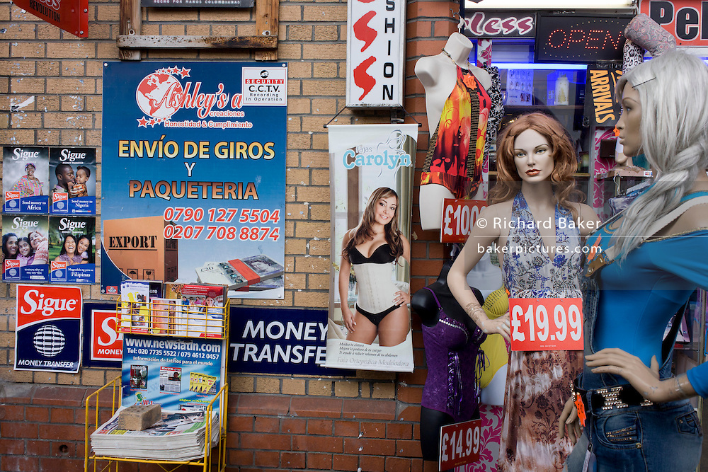 A Latino ad for a Spanish language newspaper and local fashion business at Elephant & Castle, where massive regeneration is due.