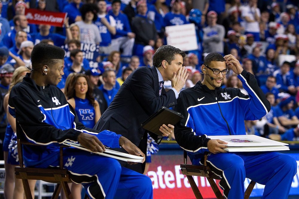 Reece Davis, center, talks to UK forward Willie Cauley-Stein during a segment of the ESPN Gameday broadcast from Rupp Arena before the Missouri vs. Kentucky game, Saturday, Feb. 23, 2013 in Lexington.