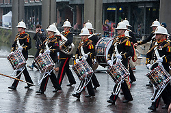 © Licensed to London News Pictures. 28/06/2015. Bristol, UK.  Armed Forces Day takes place in Bristol on Sunday 28 June, with a parade from College Green to Queen's Square, where a Drumhead Service (the traditional form for a religious service attended by troops in the field) was held in the presence of Councillor Clare Campion-Smith, Lord Mayor of Bristol and Mary Prior, Lord Lieutenant of Bristol..  Photo credit : Simon Chapman/LNP