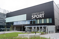 Exterior of modern sports building at the University of Strathclyde in Glasgow, Scotland, UK