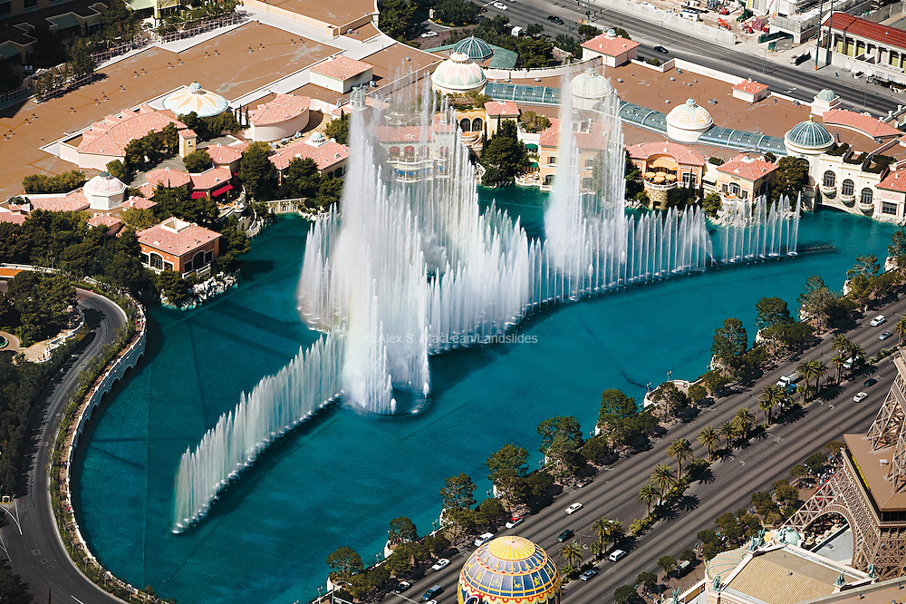 The 8-acre fountain at the Bellagio Hotel and Casino uses over 1,200 nozzles to keep roughly 17,000 gallons of water in the air; some of these nozzles can shoot water vertically up to 250 feet.  The project's estimated cost totaled over $40 million and it consumes roughly one third of the water that was used to irrigate the golf course that once covered the site.