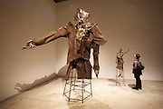 """55th Art Biennale in Venice - The Encyclopedic Palace (Il Palazzo Enciclopedico).<br /> Arsenale.<br /> Matthew Monahan (U.S.A.) """"Hephaestus"""" (l.), 2013. """"Sight Unseen"""", 2013. Bronze and steel."""