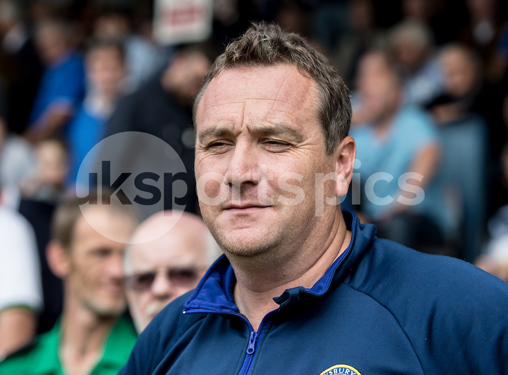 Shrewsbury Town Manager Micky Mellon during the Sky Bet League 2 match between Southend United and Shrewsbury Town at Roots Hall, Southend, England on 27 September 2014. Photo by Liam McAvoy.