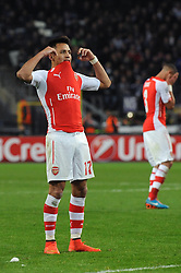 Arsenal's Alexis Sanchez cuts a dejected figure after missing a free kick - Photo mandatory by-line: Dougie Allward/JMP - Mobile: 07966 386802 - 22/10/2014 - SPORT - Football - Anderlecht - Constant Vanden Stockstadion - R.S.C. Anderlecht v Arsenal - UEFA Champions League - Group D