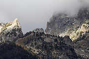 Close up of the Grand Tetons on a cloudy day