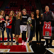 24 February 2018: The San Diego State women's basketball team closes out it's home schedule of the regular season Saturday afternoon against San Jose State. San Diego State Aztecs guard/forward Lexy Thorderson (22) seen her in a senior ceremony prior to taking on San Jose State. At halftime the Aztecs lead the Spartans 36-33 at Viejas Arena.<br /> More game action at sdsuaztecphotos.com