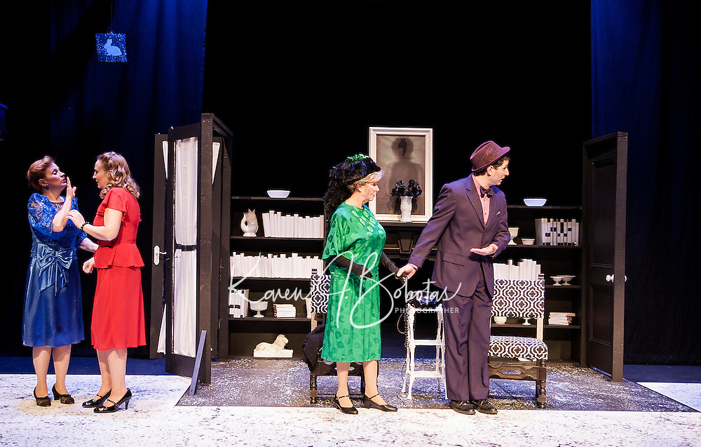 "Veta Louise Simmons (Diana Nickerson) and Myrtle Mae Simmons (Maggie Roberts) react as Elwood P. Dowd (Bryan Halperin) introduces Harvey to Mrs. Chauvenet (Barbara Webb) during dress rehearsal for ""Harvey"" at the Winnipesaukee Playhouse Tuesday evening.  (Karen Bobotas/for the Laconia Daily Sun)"