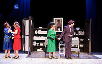 """Veta Louise Simmons (Diana Nickerson) and Myrtle Mae Simmons (Maggie Roberts) react as Elwood P. Dowd (Bryan Halperin) introduces Harvey to Mrs. Chauvenet (Barbara Webb) during dress rehearsal for """"Harvey"""" at the Winnipesaukee Playhouse Tuesday evening.  (Karen Bobotas/for the Laconia Daily Sun)"""