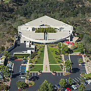 Kornberg Associates Architects designed the Tanabe Research Laboratories to be a little slice of Japan here in Southern California. At the center of the symmetrical form is a bamboo garden. The triangular footprint of the building forms an arrow pointed across the Pacific to Japan.