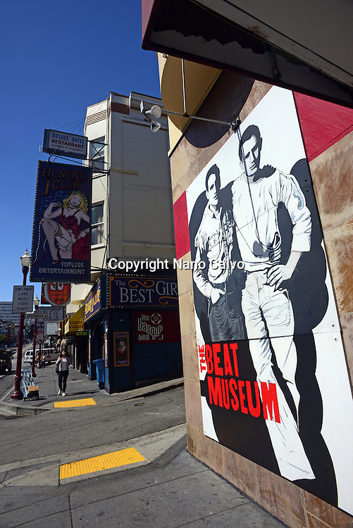 The Beat Museum painted sign in Broadway, San Francisco.
