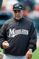 July 26, 2010; San Francisco, CA, USA;  Florida Marlins manager Edwin Rodriguez (36) before the game San Francisco Giants at AT&T Park.