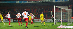 STEVENAGE, ENGLAND - Saturday, November 24, 2012: Tranmere Rovers' Jake Cassidy scores the first goal against Stevenage's goalkeeper Steve Arnold during the Football League One match at Broadhall Way. (Pic by David Rawcliffe/Propaganda)