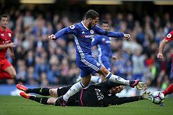 Goal, Eden Hazard of Chelsea scores as he runs around Kasper Schmeichel of Leicester City, Chelsea 2-0 Leicester City - Mandatory by-line: Jason Brown/JMP - 15/10/2016 - FOOTBALL - Stamford Bridge - London, England - Chelsea v Leicester City - Premier League