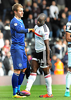 Football - 2016 /2017 Championship - Fulham vs Queens Park Rangers<br /> <br /> Sone Aluko of Fulham is consoled by QPR goalkeeper Alex Smithies after missing his injury time penalty kick which would have levelled the scoring at 2 -2 at Craven Cottage<br /> <br /> Credit : Colorsport / Andrew Cowie