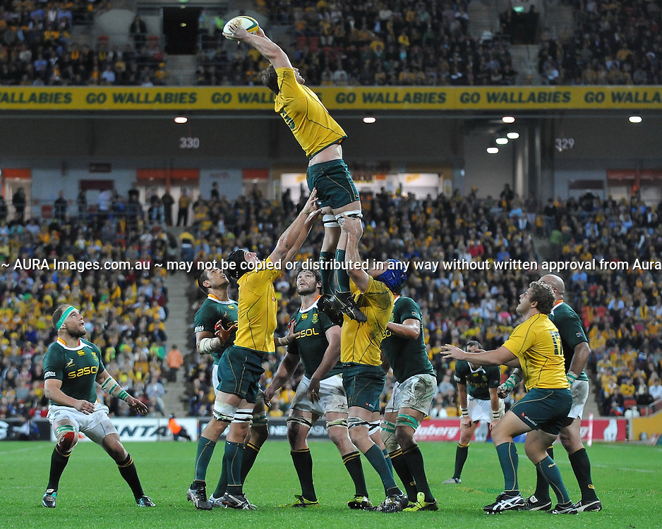 Dean Mumm wins clean line out ball for Australia during action from the Tri-Nations Rugby Test Match played between Australia and South Africa at Suncorp Stadium (Brisbane, Australia) on Saturday 24th July 2010<br /> <br /> Conditions of Use : This image is intended for Editorial use only (news or commentary, print or electronic) - Required Images Credit &quot;Steven Hight - Auraimages/Photosport