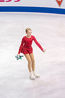 KELOWNA, BC - OCTOBER 26: A young figure skater clears the ice of gifts during ladies long program of Skate Canada International held at Prospera Place on October 26, 2019 in Kelowna, Canada. (Photo by Marissa Baecker/Shoot the Breeze)