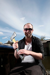 UK ENGLAND LONDON 30APR16 - London Canal boat resident Duncan Stevens displays a small axe he used to defend his boat, the 'Gremlin' near Haggerston, east London.<br /> <br /> <br /> <br /> jre/Photo by Jiri Rezac<br /> <br /> <br /> <br /> © Jiri Rezac 2016