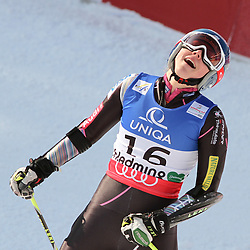 14.02.2013, Planai, Schladming, AUT, FIS Weltmeisterschaften Ski Alpin, Riesenslalom,  Damen, 2. Durchgang, im Bild Mikaela Shiffrin (USA) // Mikaela Shiffrin of United States reacts after 2nd run of ladies Giant Slalom at the FIS Ski World Championships 2013 at the Planai Course, Schladming, Austria on 2013/02/14. EXPA Pictures © 2013, PhotoCredit: EXPA/ Martin Huber
