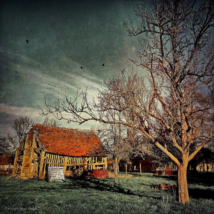Derelict timber framed barn in USA
