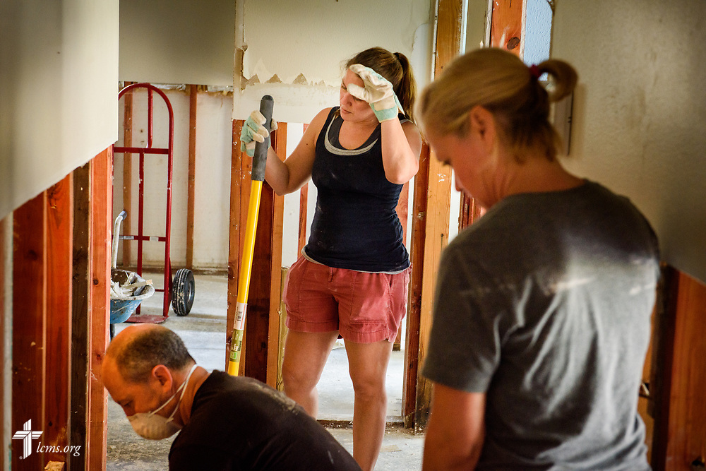 Volunteers from Trinity Klein Lutheran Church, Spring, Texas, gut a home in Spring on Saturday, Sept. 2, 2017, following damage from Hurricane Harvey the previous week. LCMS Communications/Erik M. Lunsford