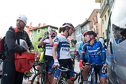 Ashleigh Moolmann-Pasio (RSA) of Cervélo-Bigla Cycling Team and Hayley Simmonds (GBR) of Team WNT talk about Stage 3 of the Emakumeen Bira - a 77.6 km road race, starting and finishing in Antzuola on May 19, 2017, in Basque Country, Spain. (Photo by Balint Hamvas/Velofocus)