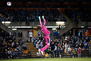 SYDNEY, AUSTRALIA - AUGUST 07: Sydney FC player Andrew Redmayne (1) goes up to take the shot at goal during the FFA Cup round of 32 football match between Sydney FC and Brisbane Roar FC on August 07, 2019 at Leichhardt Oval in Sydney, Australia. (Photo by Speed Media/Icon Sportswire)
