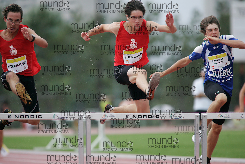 Ottawa, Ontario ---10-08-08--- Sherwood competes in the 200 metre hurdles at the 2010 Royal Canadian Legion Youth Track and Field Championships in Ottawa, Ontario August 8, 2010..JULIE ROBINS/Mundo Sport Images.