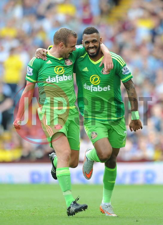 Yann M'Vila of Sunderland celebrates scoring a free kick with Lee Cattermole of Sunderland - Mandatory byline: Dougie Allward/JMP - 07966386802 - 29/08/2015 - FOOTBALL - Villa Park -Birmingham,England - Aston Villa v Sunderland - Barclays Premier League