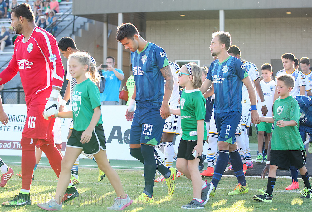 August 16, 2014: The OKC Energy FC plays the LA Galaxy II in a USL Pro game at Pribil Stadium in Oklahoma City, Oklahoma.