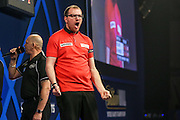 Mark Webster celebrates winning the fourth set against Mensur Suljovic during the William Hill World Darts Championship at Alexandra Palace, London, United Kingdom on 27 December 2016. Photo by Shane Healey.