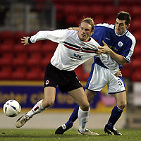 St Johnstone v Clyde..27.11.04<br />Aaron Wilford and Sean Webb<br /><br />Picture by Graeme Hart.<br />Copyright Perthshire Picture Agency<br />Tel: 01738 623350  Mobile: 07990 594431
