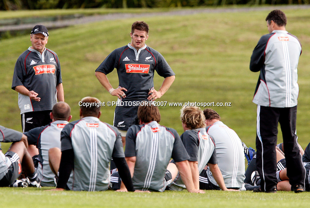 All Blacks Coach Graham Henry coaches his team during the All Blacks training session, Trusts Stadium, Auckland, New Zealand on 26 October 2006. Photo: Marc Weakley/Content Creators/PHOTOSPORT