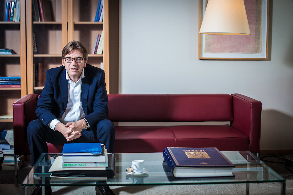 Brussels. May 07th, 2014. Guy Verhofstadt, candidate of the Liberal Party for the European Commission in his office during the campaign for the European Elections 2014. Pix: Guy Verhofstadt. Credit: Pablo Garrigos